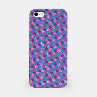 Purple Aqua and Gold Glitter Mermaid Scales iPhone Case imagen en miniatura