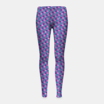 Imagen en miniatura de Purple Aqua and Gold Glitter Mermaid Scales Girl's leggings, Live Heroes