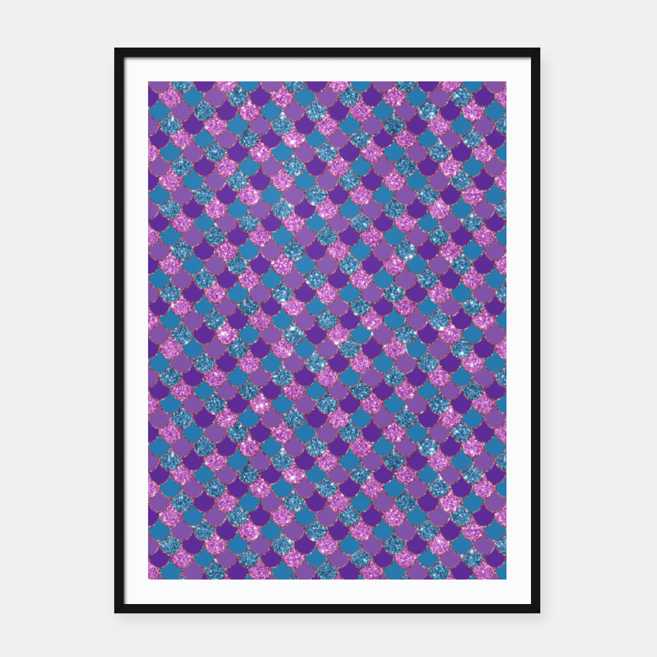 Imagen de Purple Aqua and Gold Glitter Mermaid Scales Framed poster - Live Heroes