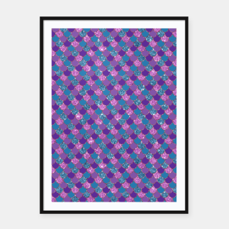 Purple Aqua and Gold Glitter Mermaid Scales Framed poster imagen en miniatura