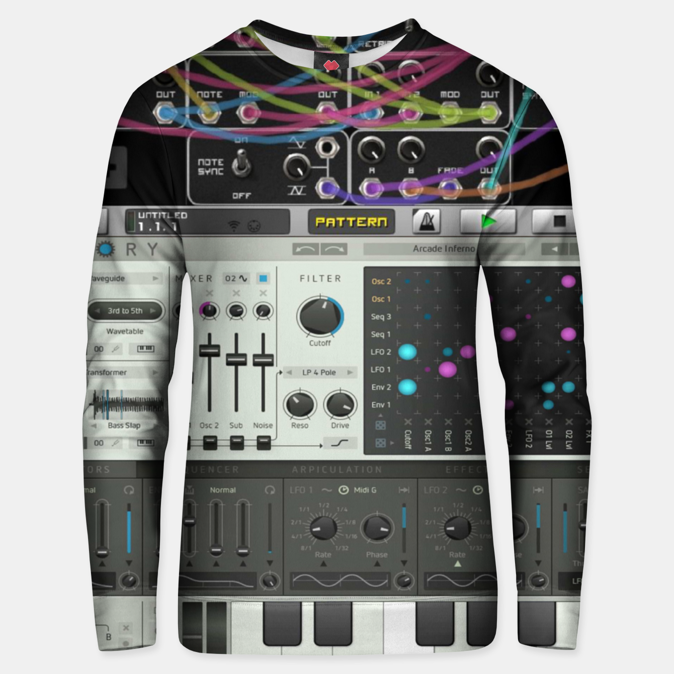 Image of Fashion art of a Collage of VSTi's And Digital music production  Unisex sweater - Live Heroes
