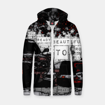Thumbnail image of Fashion art of car words Zip up hoodie, Live Heroes