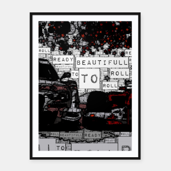 Thumbnail image of Fashion art of car words Framed poster, Live Heroes