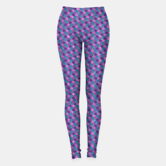 Purple Aqua and Gold Glitter Mermaid Scales Leggings imagen en miniatura
