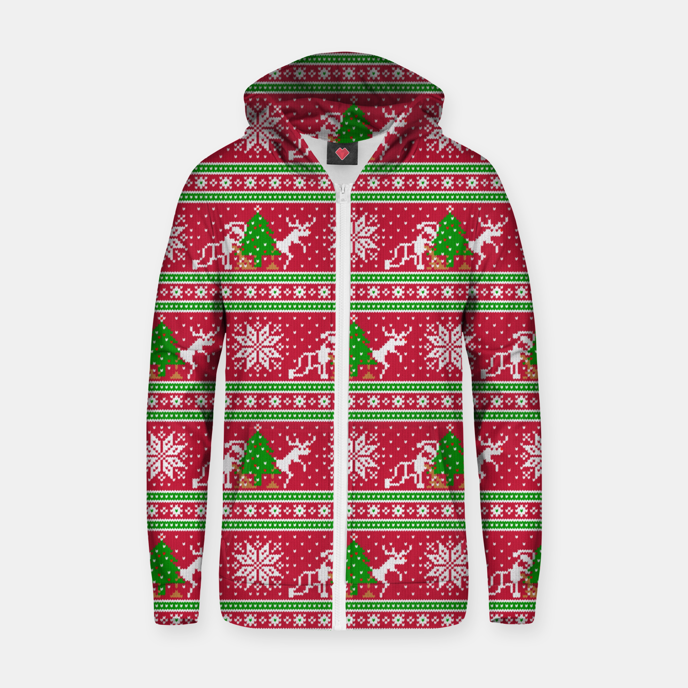 Image of Bad Santa and his deer Zip up hoodie - Live Heroes