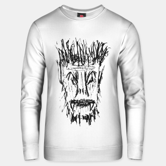 Miniatur Black and White Monster Head Drawing Unisex sweater, Live Heroes
