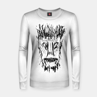 Miniatur Black and White Monster Head Drawing Women sweater, Live Heroes