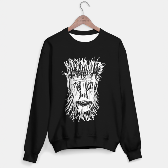 Miniatur Black and White Monster Head Drawing Sweater regular, Live Heroes