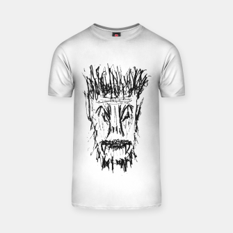 Miniatur Black and White Monster Head Drawing T-shirt, Live Heroes