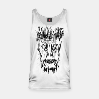 Miniatur Black and White Monster Head Drawing Tank Top, Live Heroes