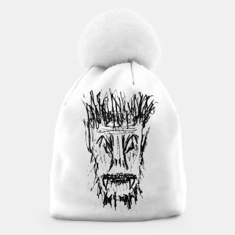 Miniatur Black and White Monster Head Drawing Beanie, Live Heroes