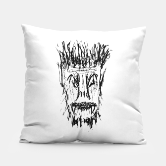 Miniatur Black and White Monster Head Drawing Pillow, Live Heroes