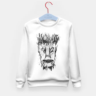 Miniatur Black and White Monster Head Drawing Kid's sweater, Live Heroes