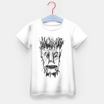 Miniatur Black and White Monster Head Drawing Kid's t-shirt, Live Heroes
