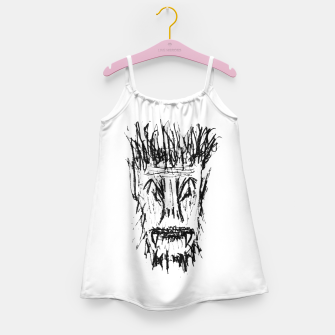 Miniatur Black and White Monster Head Drawing Girl's dress, Live Heroes