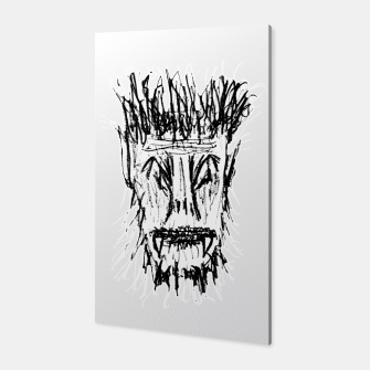 Miniatur Black and White Monster Head Drawing Canvas, Live Heroes
