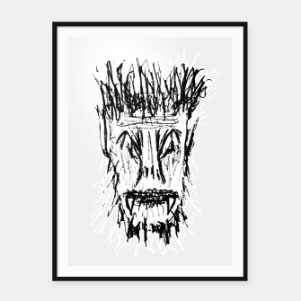 Miniatur Black and White Monster Head Drawing Framed poster, Live Heroes