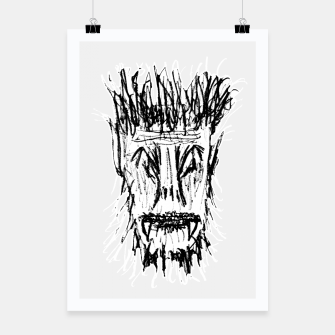 Miniatur Black and White Monster Head Drawing Poster, Live Heroes