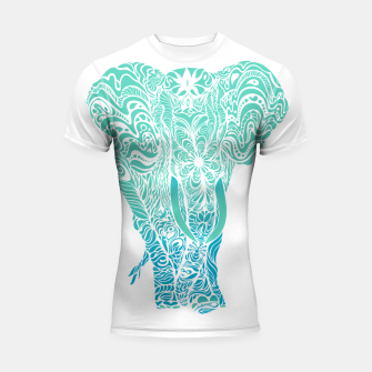 Thumbnail image of Not a circus turquoise elephant by #Bizzartino Shortsleeve rashguard, Live Heroes