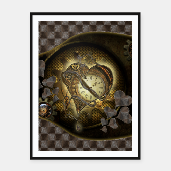 Thumbnail image of Awesome steampunk heart Framed poster, Live Heroes
