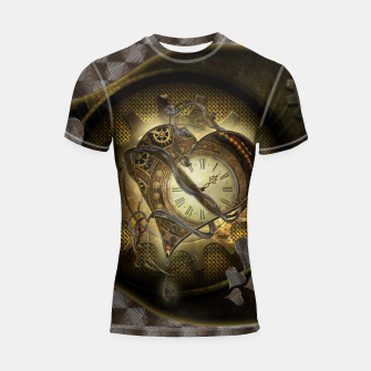 Thumbnail image of Awesome steampunk heart Shortsleeve rashguard, Live Heroes