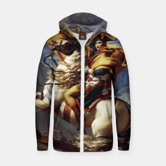 Thumbnail image of Napoleon Crossing The Alps by Jacques Louis David Old Masters Prints Zip up hoodie, Live Heroes