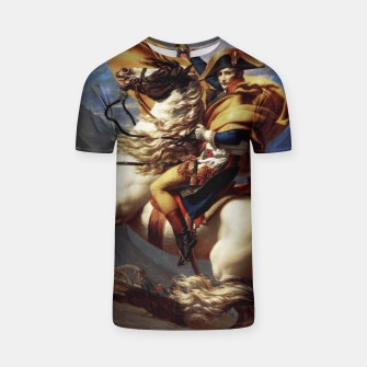 Miniatur Napoleon Crossing The Alps by Jacques Louis David Old Masters Prints T-shirt, Live Heroes