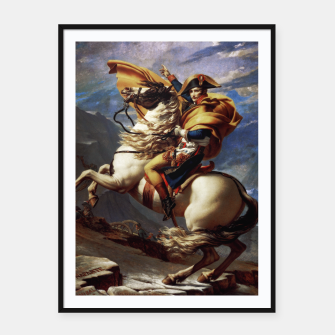 Thumbnail image of Napoleon Crossing The Alps by Jacques Louis David Old Masters Prints Framed poster, Live Heroes