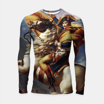 Thumbnail image of Napoleon Crossing The Alps by Jacques Louis David Old Masters Prints Longsleeve rashguard , Live Heroes