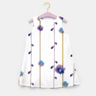 Miniaturka pansies floral minimal pattern Girl's summer dress, Live Heroes