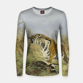Thumbnail image of Fashion items of Richard Friese painting, Tiger With Antelope Women sweater, Live Heroes
