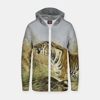Miniatur Fashion items of Richard Friese painting, Tiger With Antelope Zip up hoodie, Live Heroes