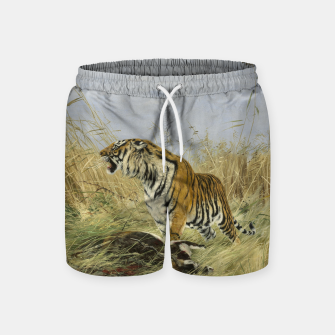 Miniatur Fashion items of Richard Friese painting, Tiger With Antelope Swim Shorts, Live Heroes