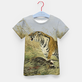 Miniatur Fashion items of Richard Friese painting, Tiger With Antelope Kid's t-shirt, Live Heroes