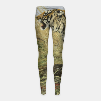 Miniatur Fashion items of Richard Friese painting, Tiger With Antelope Girl's leggings, Live Heroes
