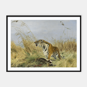 Miniatur Fashion items of Richard Friese painting, Tiger With Antelope Framed poster, Live Heroes