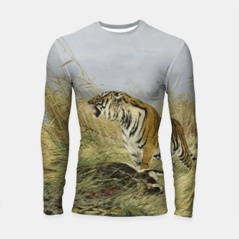 Miniatur Fashion items of Richard Friese painting, Tiger With Antelope Longsleeve rashguard , Live Heroes