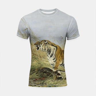 Miniatur Fashion items of Richard Friese painting, Tiger With Antelope Shortsleeve rashguard, Live Heroes