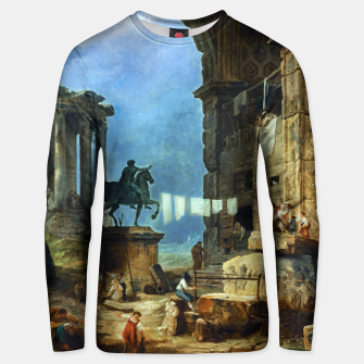 Thumbnail image of Capriccio of Roman Ruins and a Statue of Marcus Aurelius by Hubert Robert Unisex sweater, Live Heroes