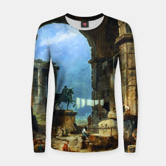 Miniatur Capriccio of Roman Ruins and a Statue of Marcus Aurelius by Hubert Robert Women sweater, Live Heroes