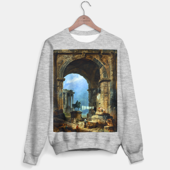 Thumbnail image of Capriccio of Roman Ruins and a Statue of Marcus Aurelius by Hubert Robert Sweater regular, Live Heroes