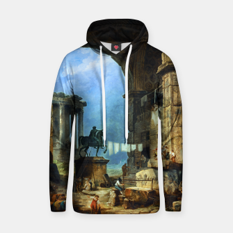 Thumbnail image of Capriccio of Roman Ruins and a Statue of Marcus Aurelius by Hubert Robert Hoodie, Live Heroes