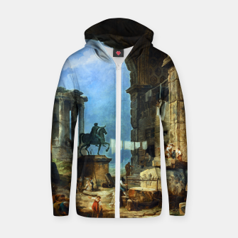 Thumbnail image of Capriccio of Roman Ruins and a Statue of Marcus Aurelius by Hubert Robert Zip up hoodie, Live Heroes