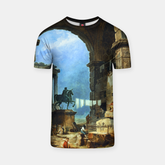 Thumbnail image of Capriccio of Roman Ruins and a Statue of Marcus Aurelius by Hubert Robert T-shirt, Live Heroes