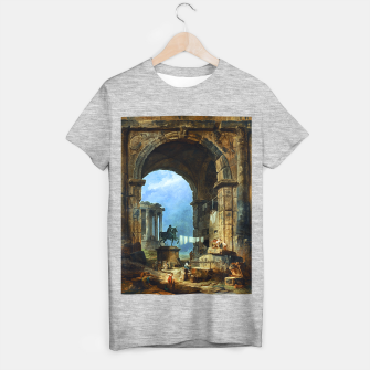Thumbnail image of Capriccio of Roman Ruins and a Statue of Marcus Aurelius by Hubert Robert T-shirt regular, Live Heroes