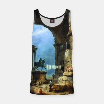 Thumbnail image of Capriccio of Roman Ruins and a Statue of Marcus Aurelius by Hubert Robert Tank Top, Live Heroes