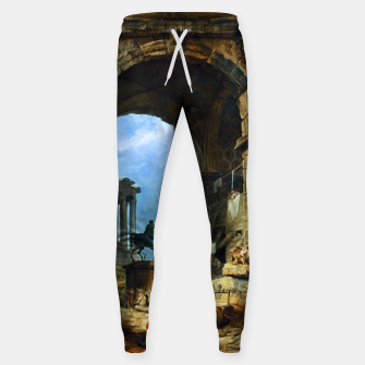Thumbnail image of Capriccio of Roman Ruins and a Statue of Marcus Aurelius by Hubert Robert Sweatpants, Live Heroes