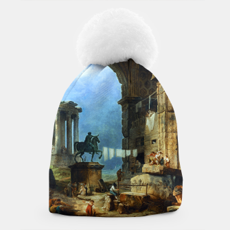 Thumbnail image of Capriccio of Roman Ruins and a Statue of Marcus Aurelius by Hubert Robert Beanie, Live Heroes