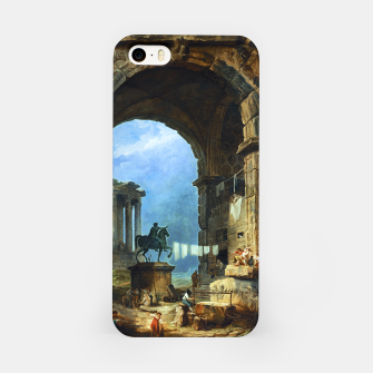 Thumbnail image of Capriccio of Roman Ruins and a Statue of Marcus Aurelius by Hubert Robert iPhone Case, Live Heroes