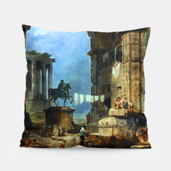 Thumbnail image of Capriccio of Roman Ruins and a Statue of Marcus Aurelius by Hubert Robert Pillow, Live Heroes